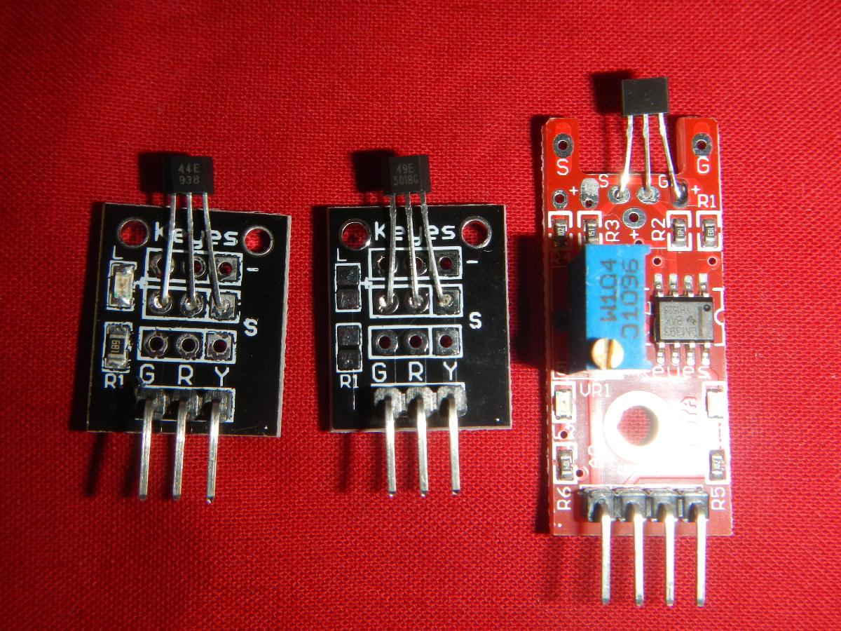 v.l.n.r: Hall-Switch-Sensor, Analoger Hall-Sensor, erweiterter analoger Hall-Sensor