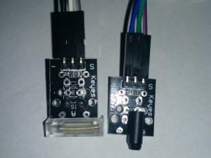 v.l.n.r.: Knock-Sensor, Shock-Sensor